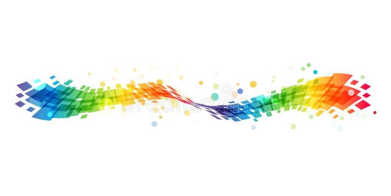 Abstracte regenbooggolf op witte achtergrond stock illustratie