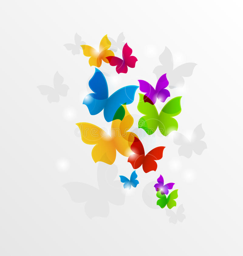 Abstracte regenboogvlinders, kleurrijke achtergrond vector illustratie