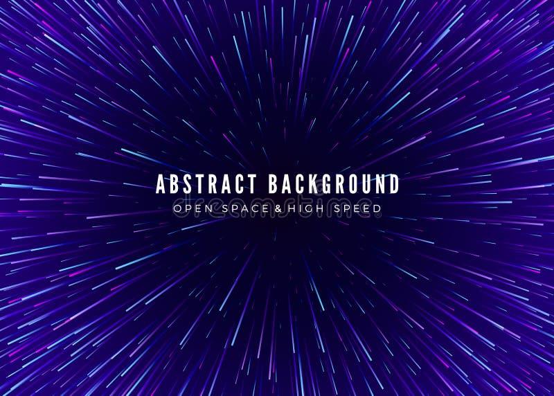 Abstracte reis als achtergrond door tijd en ruimte Futuristische neonaffiche Het in malplaatje van de muziekbanner Vector royalty-vrije illustratie