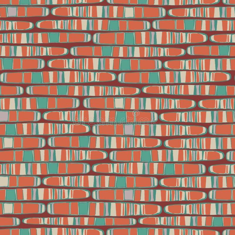 Abstracte rijen van geologische lagen langwerpige veelkleurige vormen in horizontaal geometrisch ontwerp Naadloos vectorpatroon  stock illustratie