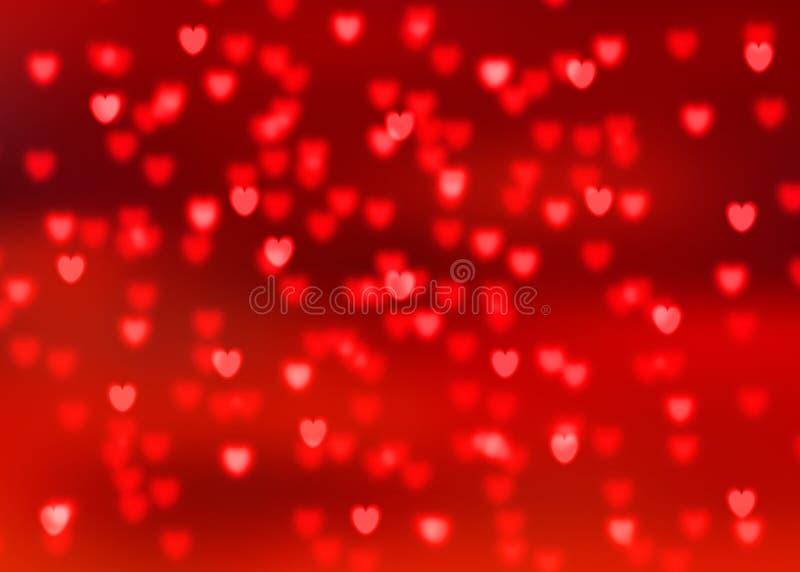 Abstracte rode achtergrond met rode hart gestalte gegeven bokeh lichten stock illustratie