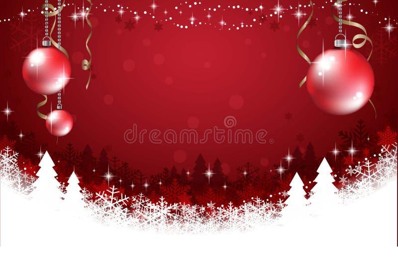 Abstracte rode achtergrond met sneeuwvlok, Kerstmisbomen en rode ballen Vector illustratie stock afbeelding