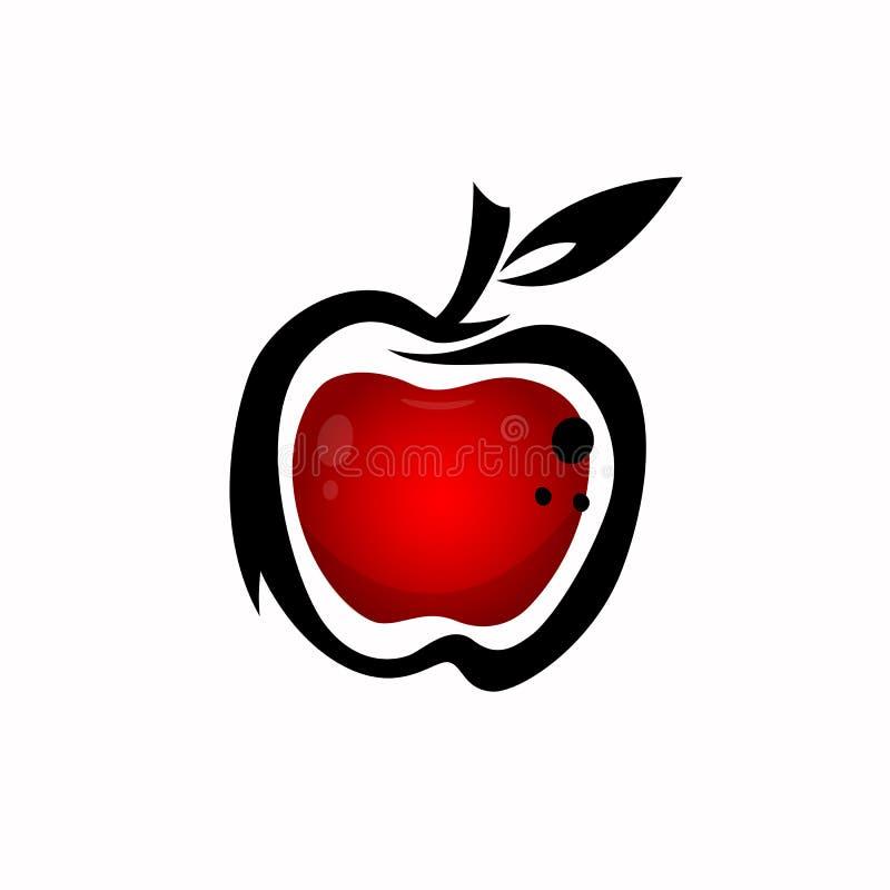 Abstracte rode appel met zwarte slag royalty-vrije illustratie