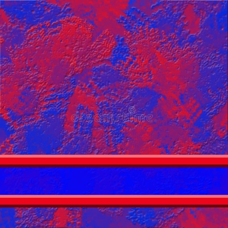 Abstracte rode blauwe achtergrond met onregelmatige structuur en banner Rood transparante lintstrips met grenzen voor titel stock illustratie