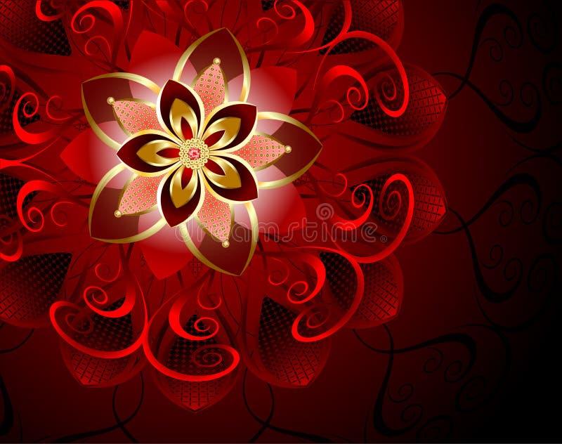 Abstracte rode bloem royalty-vrije illustratie