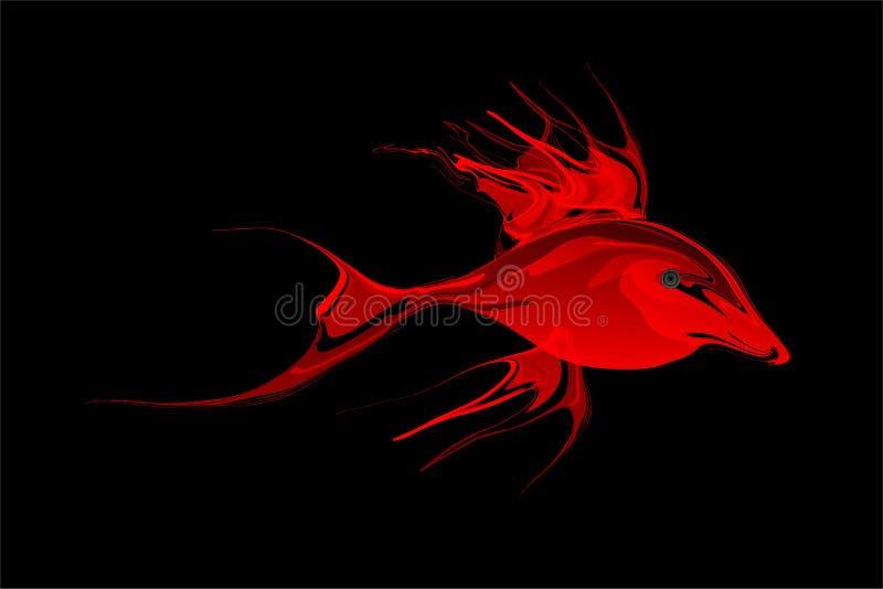 Abstracte rode in de schaduw gestelde vissen met zwarte Achtergrond Vector illustratie stock illustratie