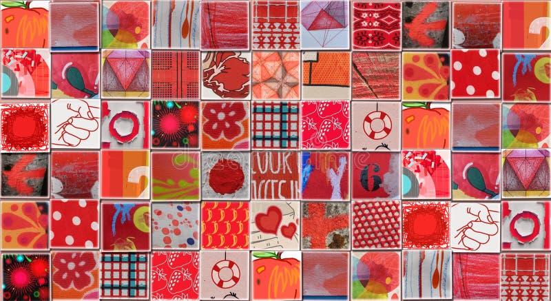 Abstracte Rode die Achtergrond met Kleine illustraties wordt gemaakt vector illustratie