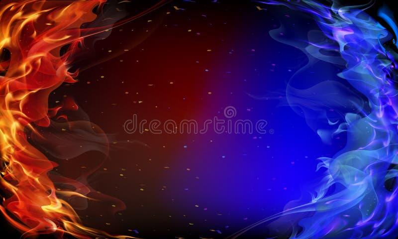 Abstracte rode en blauwe brand royalty-vrije illustratie