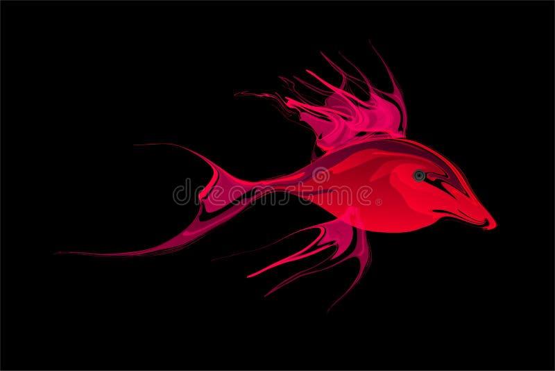 Abstracte rode en magenta in de schaduw gestelde vissen met zwarte Achtergrond Vector illustratie royalty-vrije illustratie