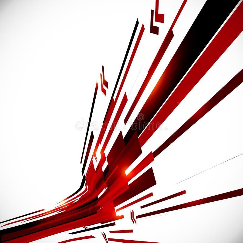 Abstracte rode en zwarte glanzende lijnenachtergrond royalty-vrije illustratie