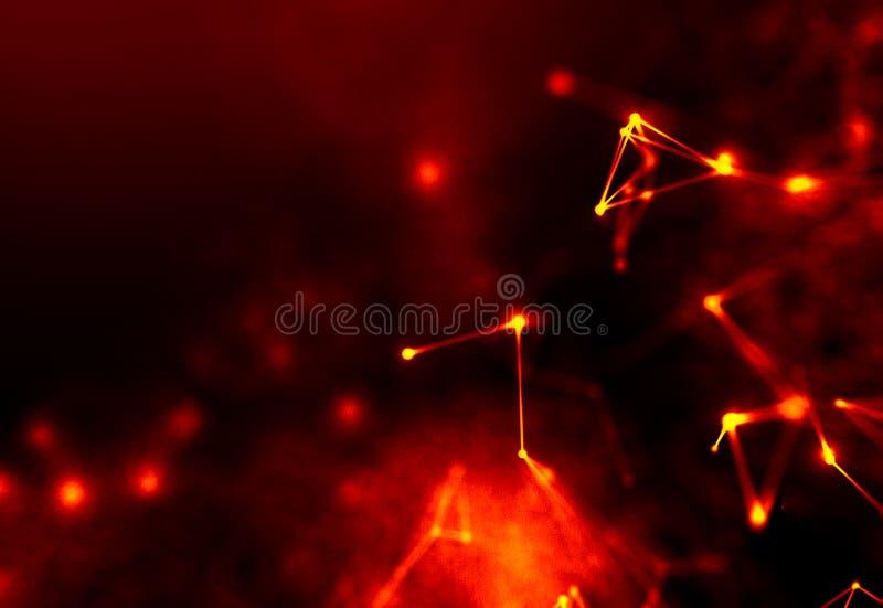 Abstracte rode Geometrische Achtergrond Futuristische technologiestijl Het teken van het neon Futuristische Technologie HUD Eleme stock foto
