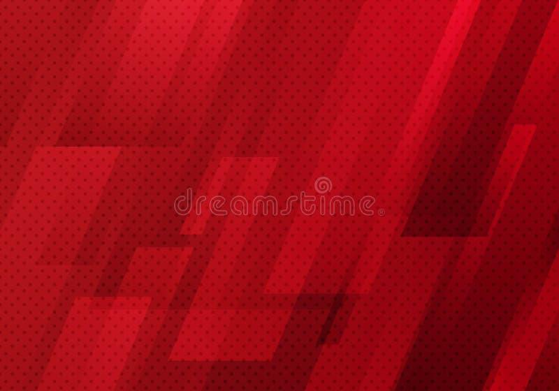 Abstracte rode geometrische diagonaal met de textuur van het achtergrond puntenpatroon moderne digitale technologiestijl vector illustratie