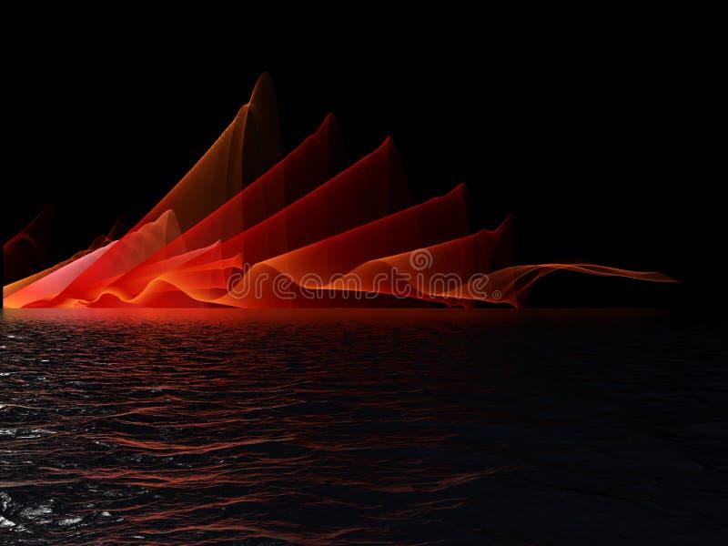 Abstracte rode golvende rookvlam over watermeer of vijver met bezinning over zwarte achtergrond stock fotografie