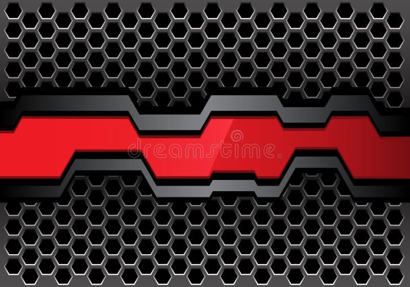 Abstracte rode grijze veelhoekbanner op het ontwerp moderne futuristische van het metaal hexagon netwerk vector als achtergrond royalty-vrije illustratie