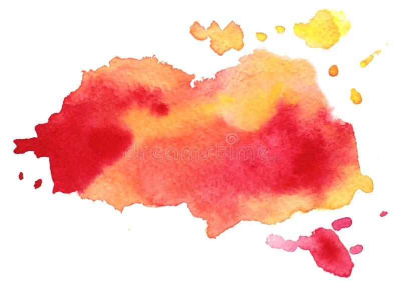 Abstracte rode kleurrijke vectorwaterverfvlek Grungeelement voor document ontwerp stock illustratie