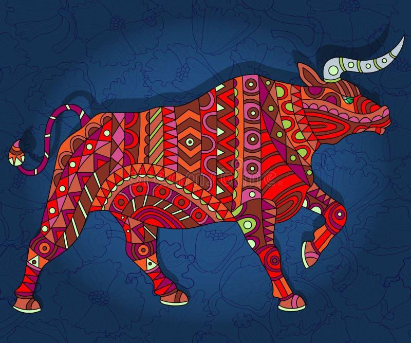 Abstracte rode stier met geometrische patronen op een donkerblauwe bloemenachtergrond stock illustratie