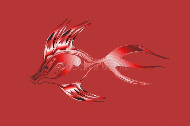 Abstracte rode toon- transparante vissen met geweven Achtergrond Vector illustratie stock illustratie
