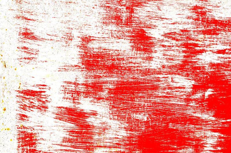 Abstracte rode witte borstelslagen, krassenachtergrond stock illustratie