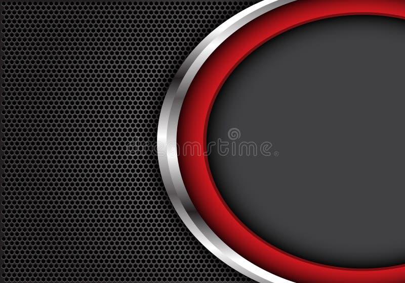 Abstracte rode zilveren kromme met grijze lege ruimte op donkergrijze hexagon van het achtergrond netwerkontwerp moderne futurist vector illustratie