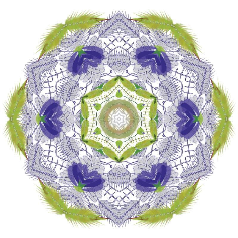 Abstracte ronde en hexuitdraai bloemen sierkader royalty-vrije illustratie