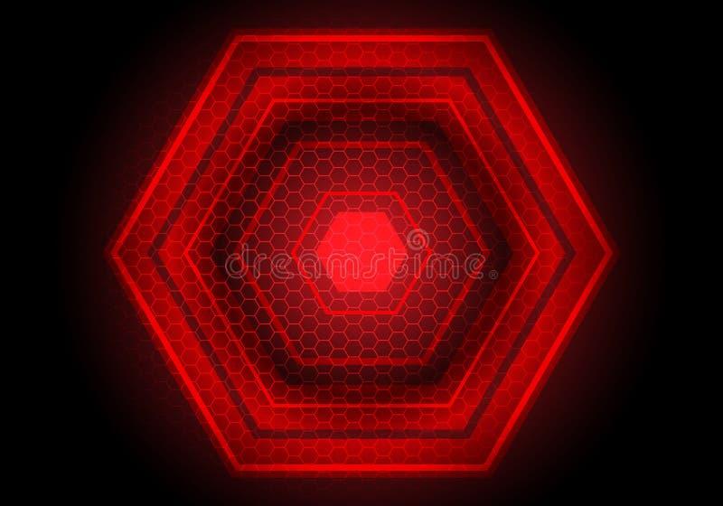 Abstracte rood licht hexagon macht op zwarte van de ontwerp moderne futuristische technologie vector als achtergrond royalty-vrije illustratie