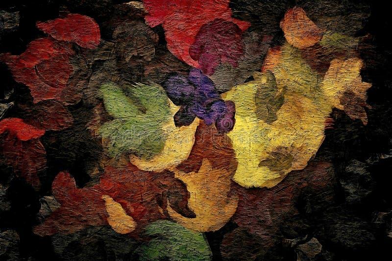 Abstracte rooster, decoratieve uitstekende grungeachtergrond, met bloementextuur van brede slagen, verfontwerp voor tapijtwerk, b royalty-vrije illustratie