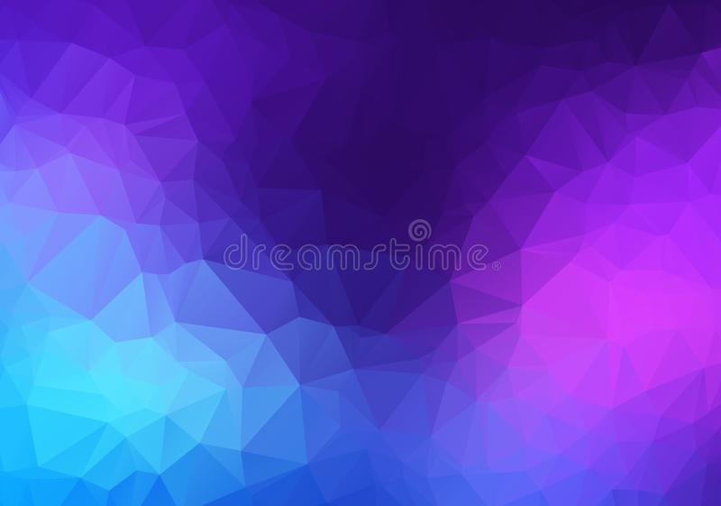 Abstracte Roze, blauwe, Purpere vector Lage polykristalachtergrond Het patroon van het veelhoekontwerp Lage polyillustratie, lage stock illustratie