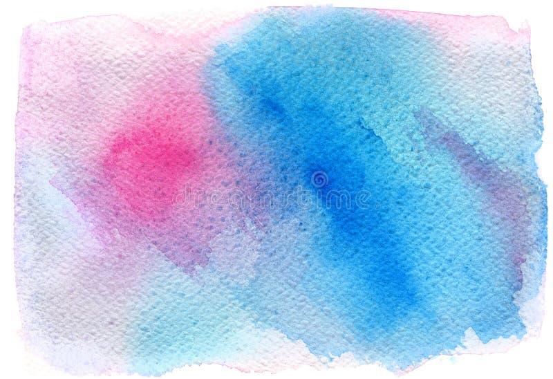Abstracte roze blauwe in waterverfachtergrond, scheiding, vlek Ontwerpelement voor gelukwenskaarten, druk, banners en anderen royalty-vrije illustratie
