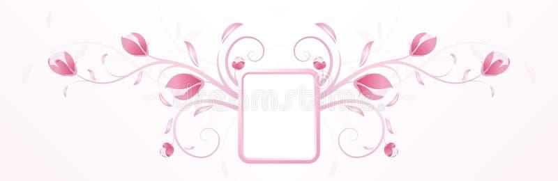 Abstracte roze bloemenachtergrond met frame vector illustratie