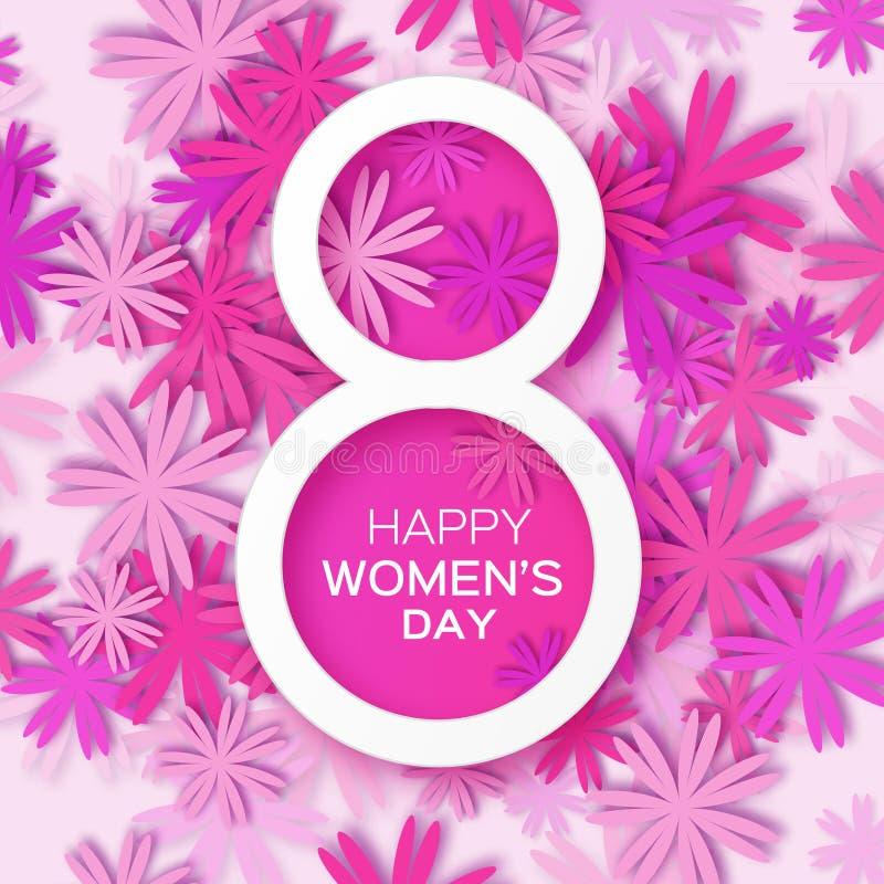 Abstracte Roze Bloemengroetkaart - de Dag van Internationale Gelukkige Vrouwen - 8 Maart-vakantieachtergrond stock illustratie