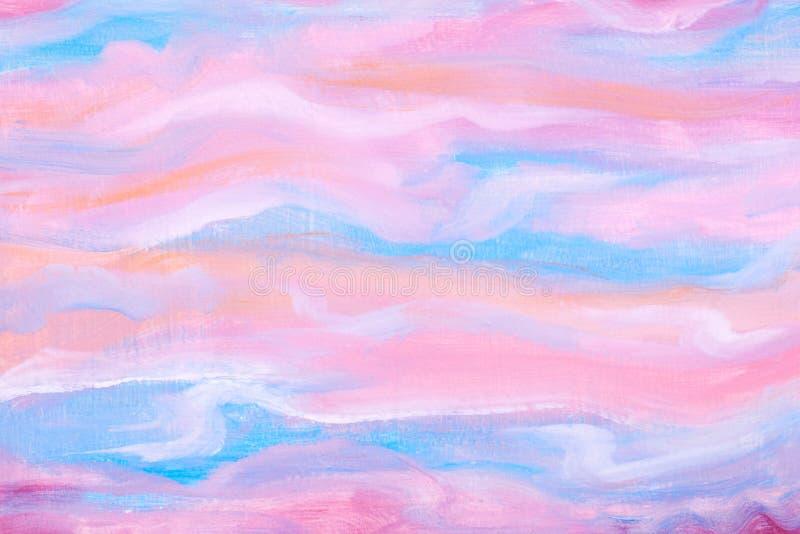 Abstracte roze en blauwe hand het schilderen achtergrond Onduidelijk beeld achtergrondtextuur Kunst, ontwerp en illustratieconcep vector illustratie