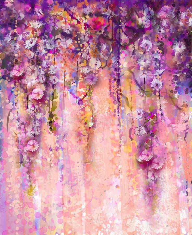 Abstracte roze en violette kleurenbloemen, Waterverf het schilderen han vector illustratie