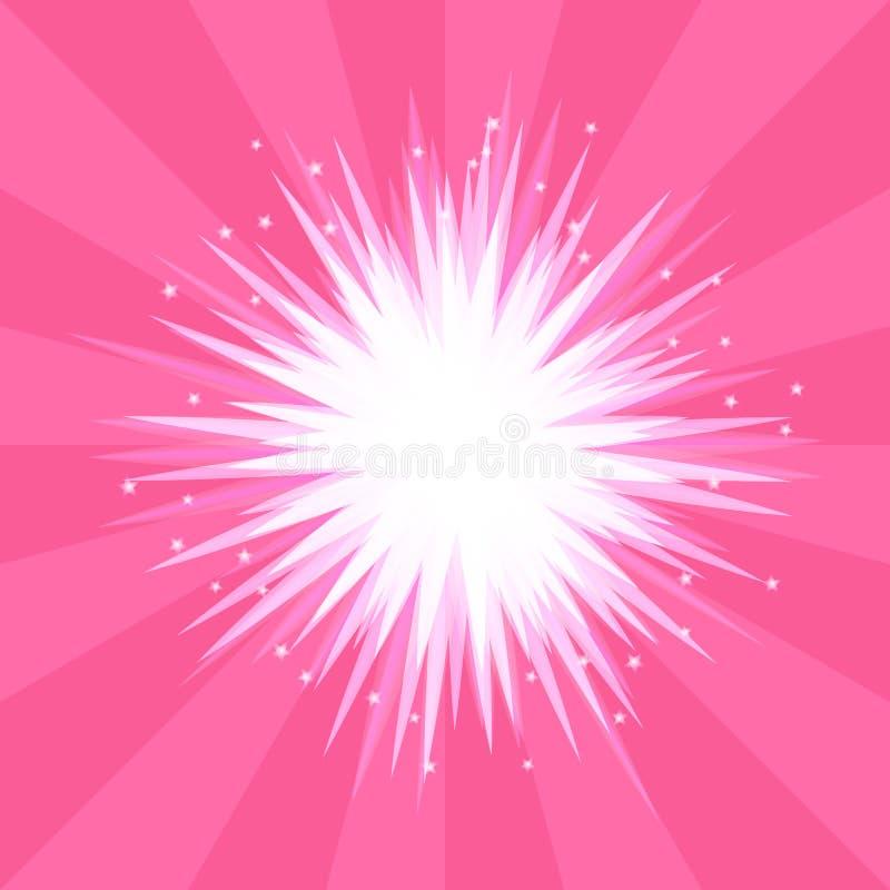 Abstracte roze explosie als achtergrond van een ster met stralen royalty-vrije illustratie