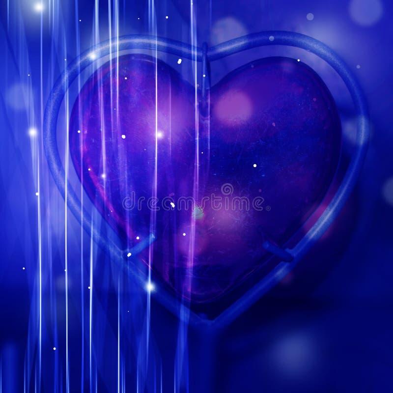 Abstracte roze hart blauwe achtergrond royalty-vrije illustratie