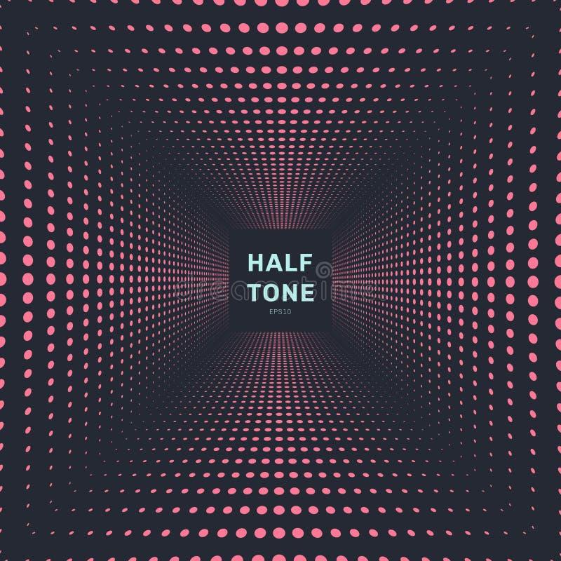 Abstracte roze het perspectief donkere achtergrond en textuur van de kleuren halftone ruimte vector illustratie