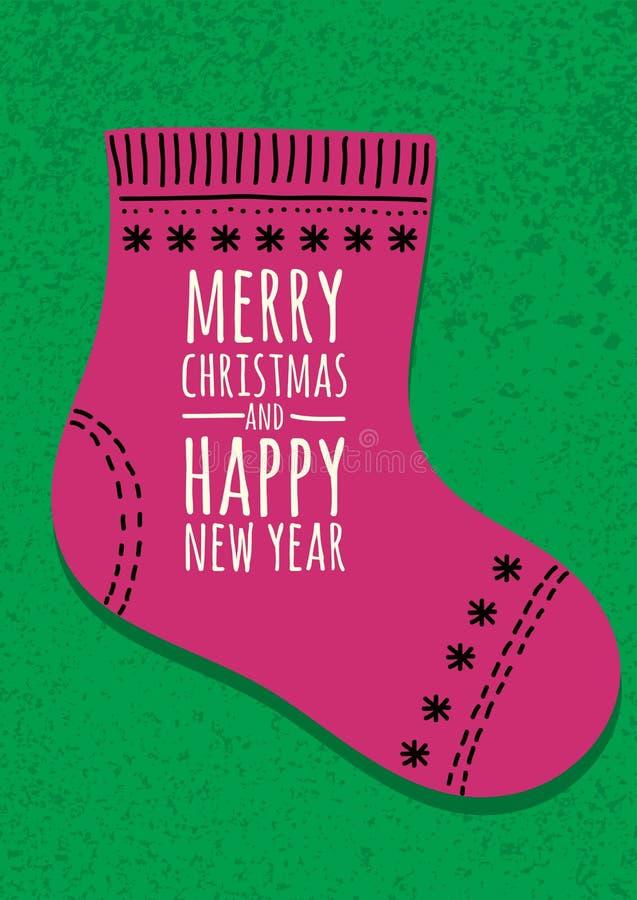 Abstracte roze sok op groene grungeachtergrond Kerstmis vector illustratie