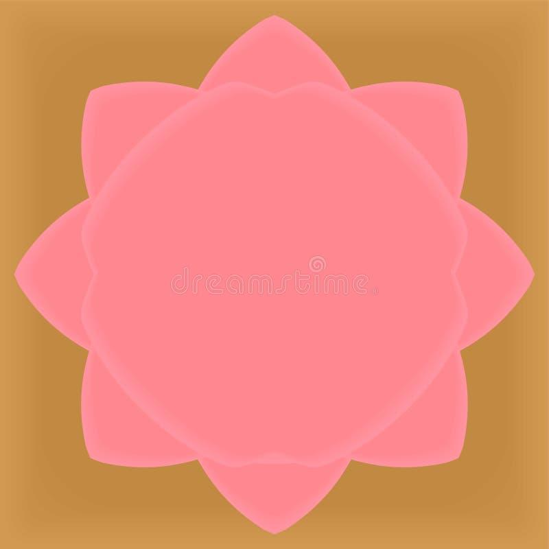 Abstracte Roze van het de reclameetiket van lotusbloembloemblaadjes grafische textuur als achtergrond tegen op gouden vectorillus vector illustratie
