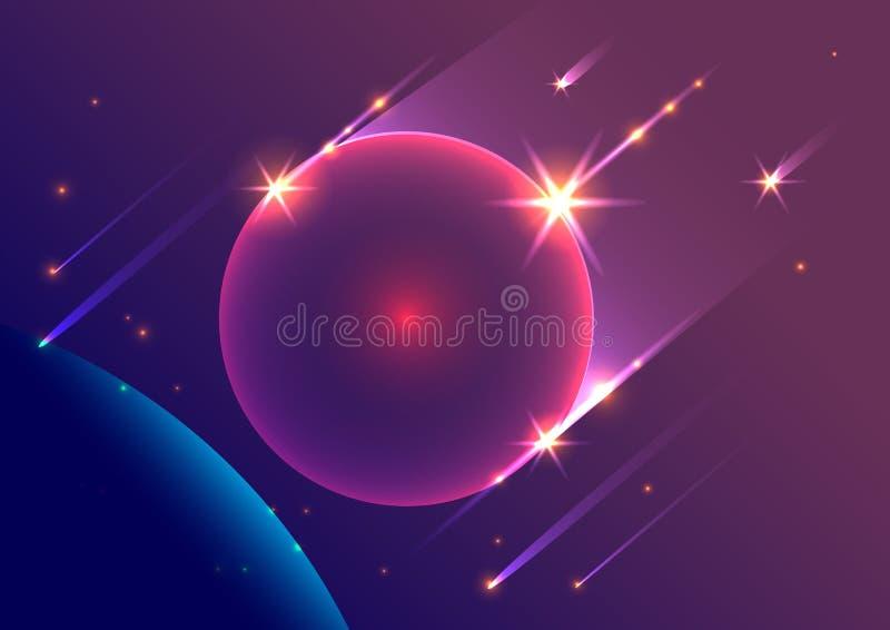 Abstracte ruimte dalende meteorieten en planeet als achtergrond vector illustratie