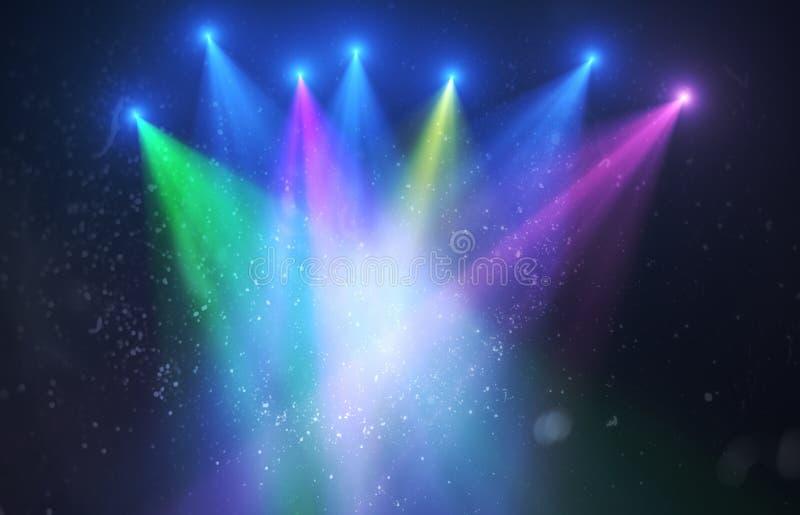 Abstracte ruimtelichten als achtergrond op zwarte achtergrond (super hoge resolutie) royalty-vrije illustratie