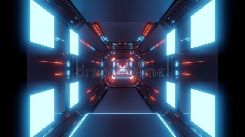 Abstracte ruimtetunnel met blauwe lichten en rode bezinning stock illustratie