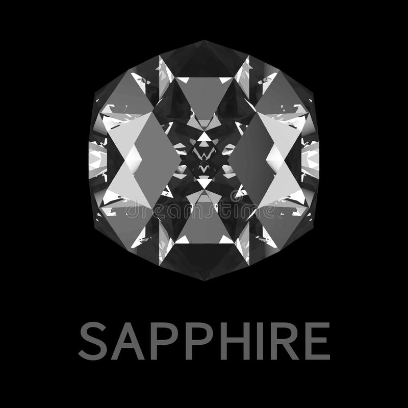 Abstracte saffier op zwarte achtergrond Vector illustratie royalty-vrije illustratie