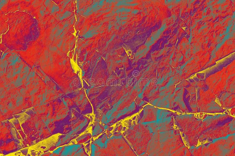 Abstracte samenstelling voor het binnenland Grunge rood blauw en geel die blauw op een steenmuur wordt geschilderd royalty-vrije stock foto