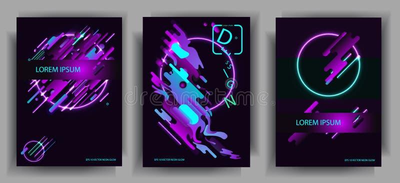 Abstracte samenstellingen van de rond gemaakte banden, futuristische en moderne en neonkleuren Vectormalplaatjes voor affiches, b royalty-vrije illustratie