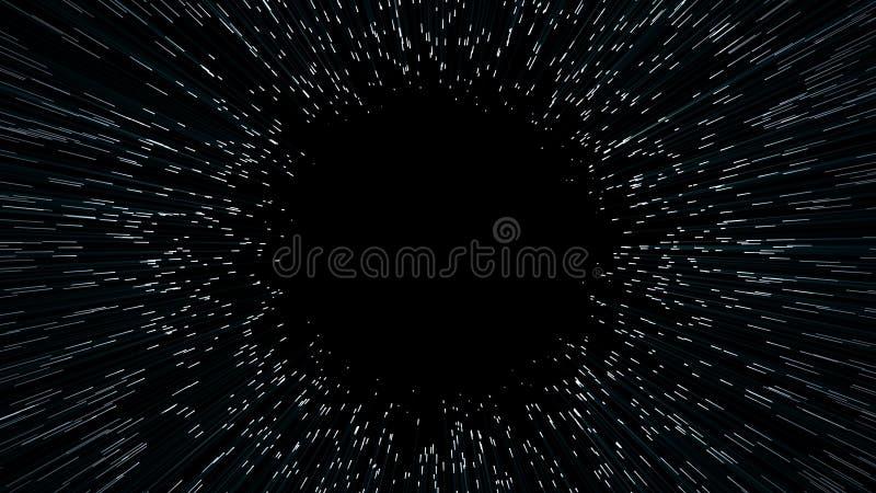 Abstracte scène van het overwinnen van de tijdelijke ruimte in ruimte vector illustratie