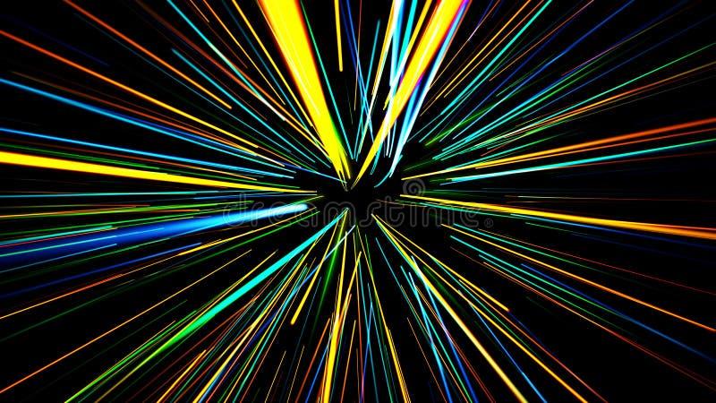 Abstracte scène van vlucht in ruimte vector illustratie