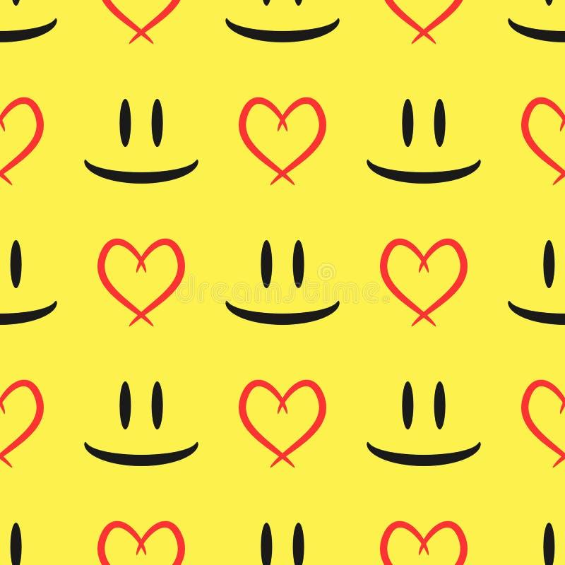 Abstracte schets van de de ogen en het glimlachen mond Contour van het hart Naadloos patroon stock illustratie
