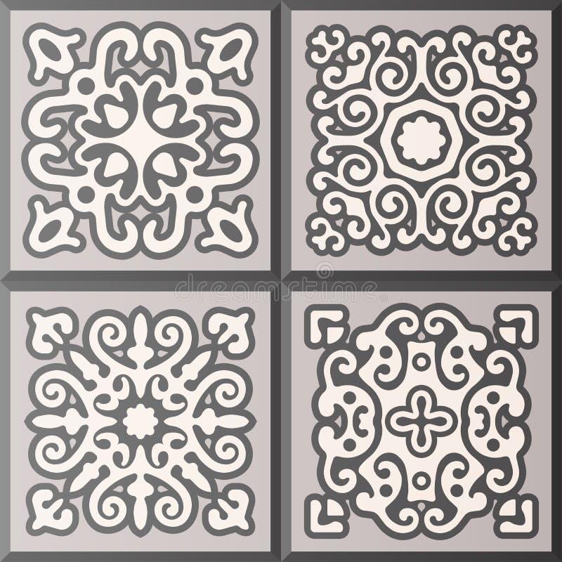 Abstracte sier gevormde tegelinzameling Originele vectorreeks van oud motiefdecor stock illustratie
