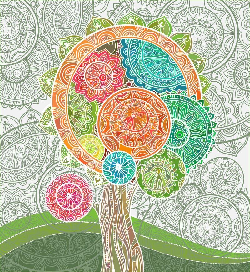 Abstracte sier magische boom met heel wat detailes vector illustratie