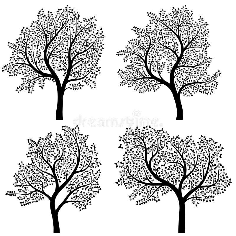 Abstracte silhouetten van bomen met bladeren. vector illustratie