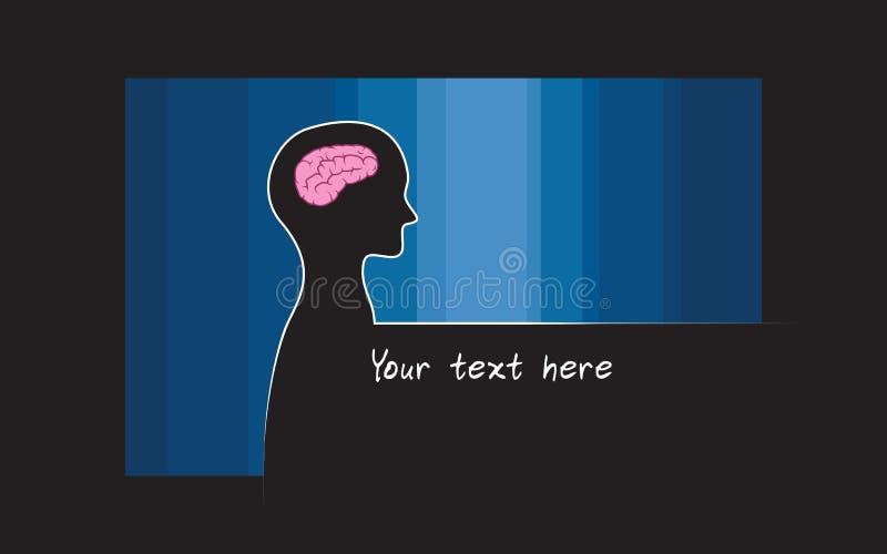 Abstracte sillhouette van persoon met blauwe kleurenachtergrond Het symbool van intelligentiehersenen vector illustratie